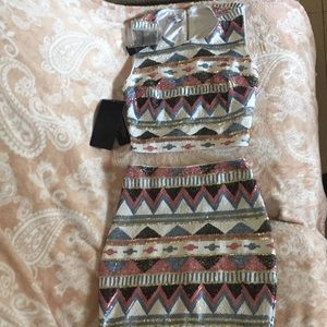NWT Bebe Aztec print sequin crop top and skirt